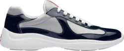 Prada Navy Blue Patent And Silver Knit Sneakers