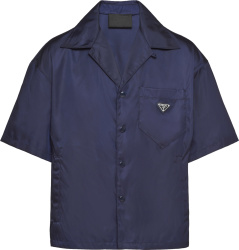 Prada Navy Blue Short Sleeve Re Nylon Pocket Shirt Sc449 1wq8 F0008 S 182