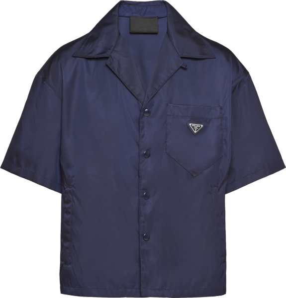 Prada Navy Blue Short Sleeve Re Nylon Pocket Shirt Sc449 1wq8 F0008 S 182