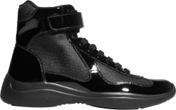 Patent Black High-Top 'Americas Cup' Sneakers