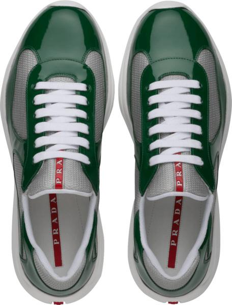 Prada Patent Green Low Top Sneakers