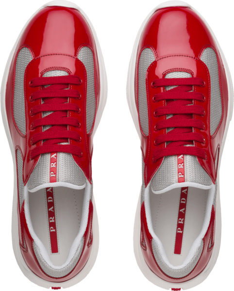 Prada Patent Red And Silver Low Top Sneakers