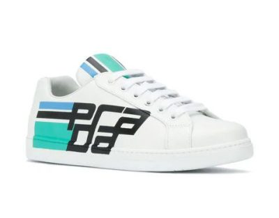 Prada Printed Side Stripe And Logo Leather Sneakers Worn By Lil Durk