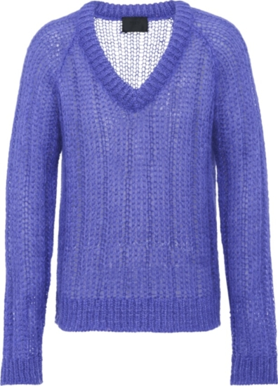 Prada Purple Knit V Neck Sweater