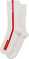 Prada Red Logo Stripe White Socks