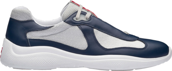 Prada Silver And Navy Americas Cup Sneakers