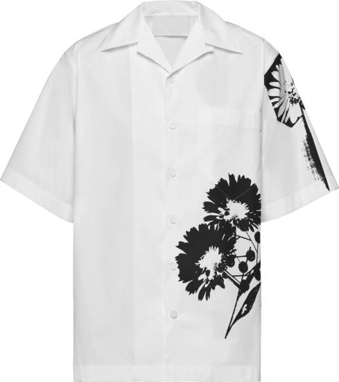 Prada White And Black Floral Print Shirt Ucs400 1yv4 F0009 S 211
