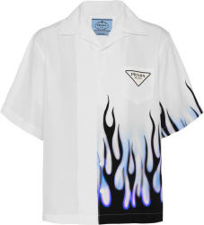 Prada White And White Flame Double Match Shirt Ucs406 1zvj F0076 S 212
