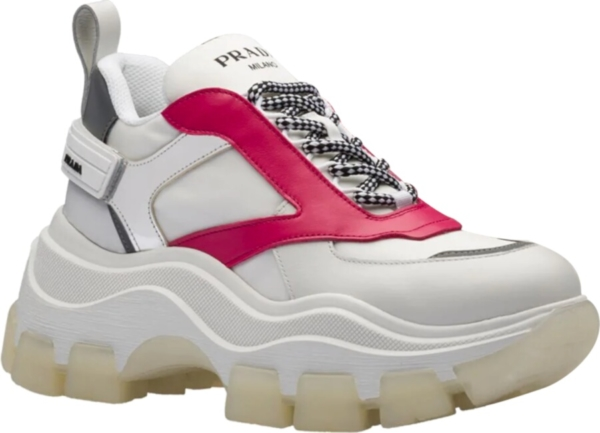 Prada White Block Sneakers With Red And Silver Accents