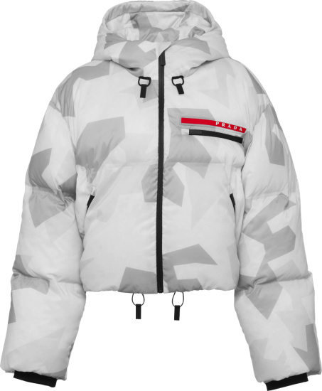 Prada White Camo Cropped Puffer Jacket 291698 1yyt F0k44 S 202