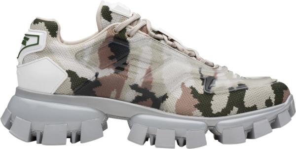 Prada White Camouflage Knit Sneakers