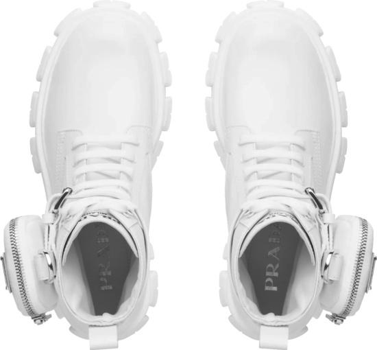 Prada White Cargo Pocket Combat Boots