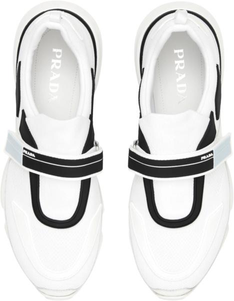 Prada White Cloudbust Knit Strap Sneakers