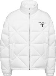 Prada White Diamond Quilted Re Nylon Puffer Jacket Sgb803 1wq8 F0009 S 202
