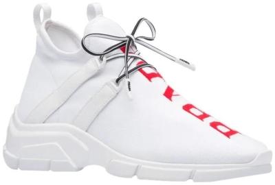 Prada White Knit Mid Sneakers
