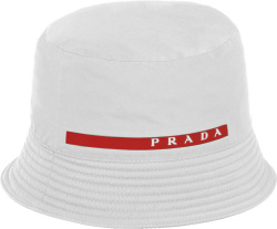 Prada White Logo Stripe Bucket Hat