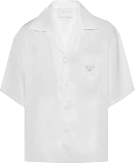 Prada White Re Nylon Short Sleeve Shirt Sc449 1wq8 F0009 S 182
