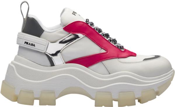 Prada White Red Platform Sneakers