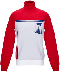 Prada White Red Ribbed Roll Neck Sweater