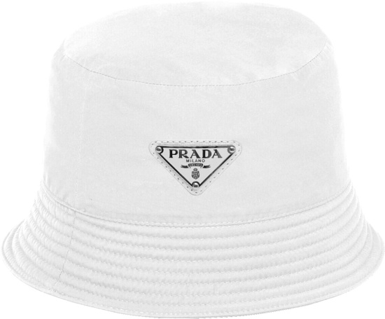 Prada White Triangle Logo Bucket Hat