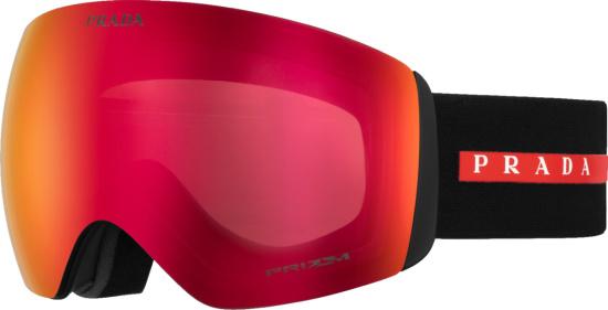 Prada X Oakley Black Red Mirrored Ski Goggles