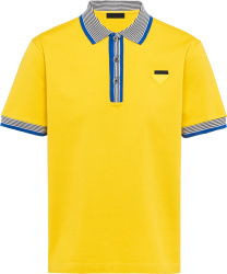 Prada Yellow And Blue Striped Trim Polo