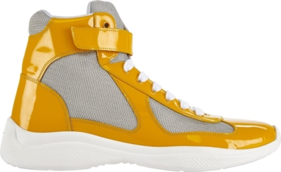 Prada Yellow Patent Leather Americas Cup Sneakers