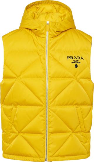 Prada Yellow Re Nylon Diamond Quilted Puffer Vest