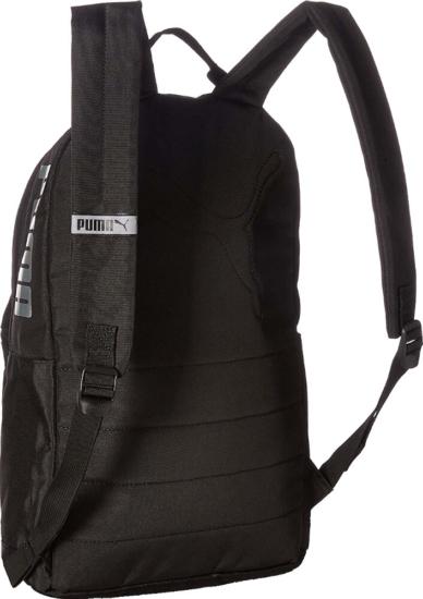 Puma Black Backpack With Silver Logo Print