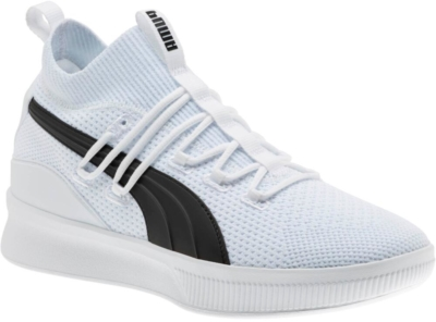 Puma White Clyde Court Knit Basketball Sneakers