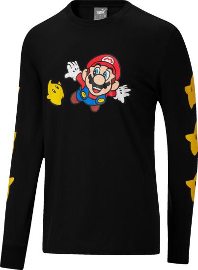 Puma X Nintendo Black Long Sleeve Super Mario Galaxy T Shirt