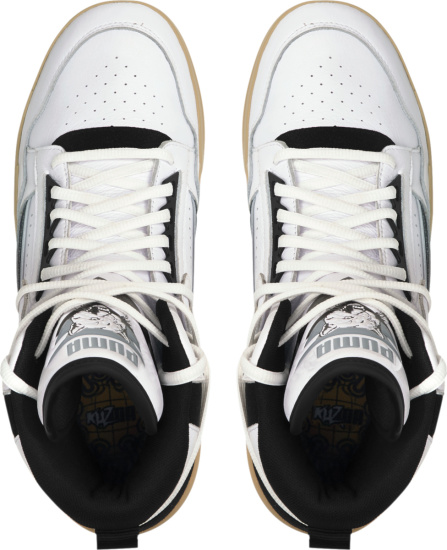 Pume White Black Gold High Top Clyde All Pro Kuzma Sneakers