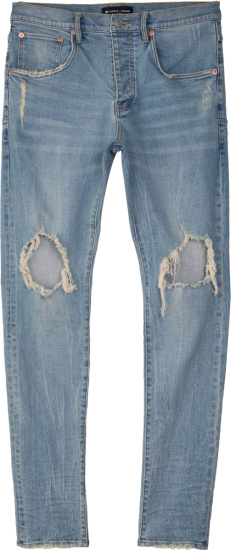 Purple Brand Light Indigo Ripped Knee Jeans