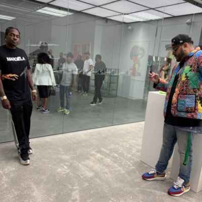 Pusha T Wearing A Maison Margiela T Shirt With Needles Track Pants And Adidas Raf Simons Sneakers