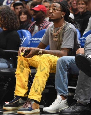 Quavo Attends The Hawks V Clippers Game In Undercover & Nike X Travis Scott