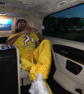 Quavo In The Back Of His Rolls Royce Wearing Prada Yellow T Shirt And Pants