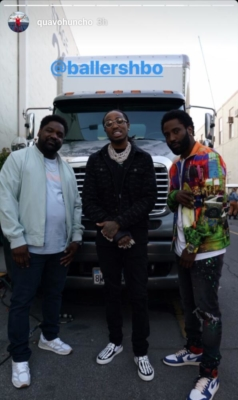 Quavo On The Set Of Hbo Ballers In Alyx Daisty Print Shirt Mrc Noir Jacket And Amiri Sneakers