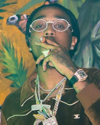 Quavo Wearing A Celine Brown Velour Zip Track Jacket With A Richard Mille Watch