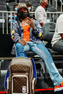 Quavo Wearing A Kapital Blazer With A Chanel X Pharrell T Shirt Gallery Dept Jeans Air Force 1 Sneakers And A Louis Vuitton X Nba Backpack