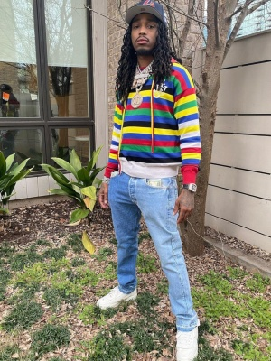 Quavo Wearing A Moncler X Jw Anderson Hoodie With A Richard Mille Watch And Nike X Comme Des Garcons White Sneakers
