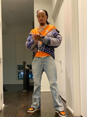 Quavo Wearing A North Face Bandand Puffer With A Chrome Hearts Sweatshirt And Jorda 1 Sneakers