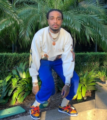 Quavo Wears Jesus Is King Merch With Off White Dunks