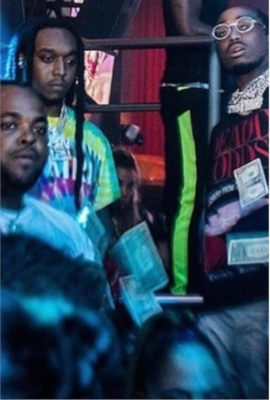 Quavo With Takeoff In A Strip Club Wearing Amiri And Enfants