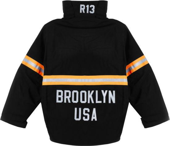 R13 Black And Reflective Orange Stripe Jacket