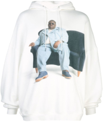 R13 White Oversized Notorious Big Hoodie Worn By Meek Mill