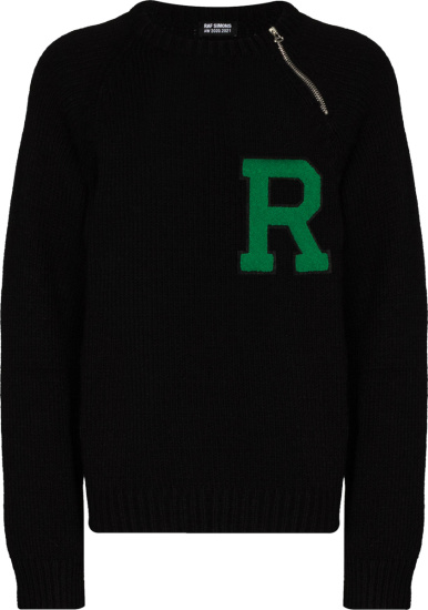 Raf Simons Black R Patch Zip Sweater