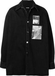 Raf Simons Black Denim Oversized Patch Shirt