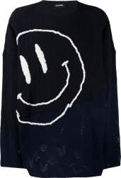 Raf Simons Black Navy Smiley Face Sweater
