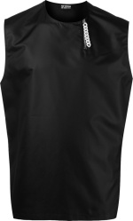 Raf Simons Black Sleeveless Zip Collar Satin Shirt