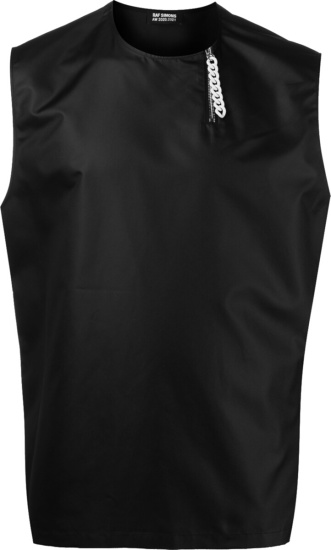 Raf Simons Black Sleeveless Zip Collar Satin Shirt